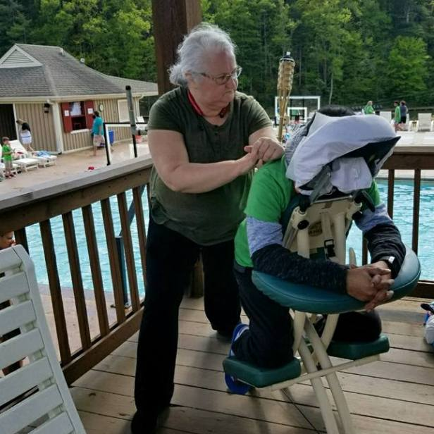 Linda Stanley | Chair Massage at 9th Retreat in Jasper | Thumbs Up Mission | Keaton Franklin Coker Foundation | Gainesville, GA