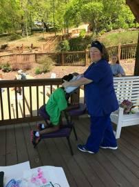 Kelly Buddenhagen | Chair Massage at 9th Retreat in Jasper | Thumbs Up Mission | Keaton Franklin Coker Foundation | Gainesville, GA